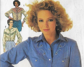 80s Womens Western Shirts with Yoke and Trim Variations Simplicity Sewing Pattern 7231 Size 10 12 14 Bust 32 1/2 to 36 FF