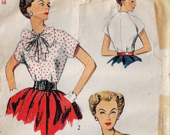 1950s Womens Raglan Sleeve Blouses with Variations Simplicity Sewing Pattern 3940 Size 18 Bust 36 DIY Vintage Blouses