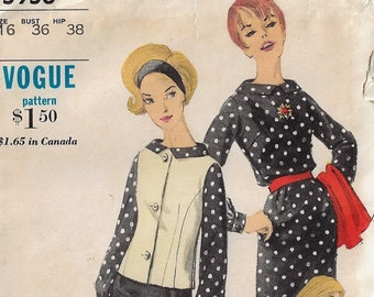 1960s Vogue Sewing Pattern 5956 Womens Sleeveless Jacket, Pencil Skirt & Blouse Size 16 Bust 36 FF DIY Vintage Outfits