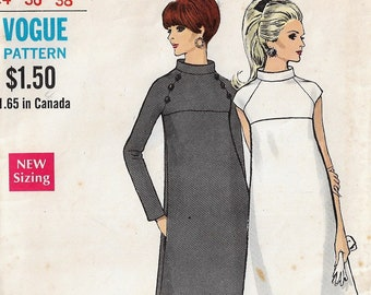 60s Vogue Sewing Pattern 7299 Womens One Piece A-Line Dress with Sleeve Variations Size 14 Bust 36 DIY Vintage Clothing
