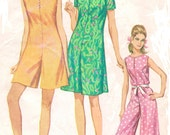 1960s Simplicity Sewing Pattern 7139 Womens Mod Pantdress, Romper or Jumpsuit Size 12 Bust 32 Mod Evening Jumpsuit