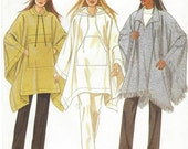 90s New Look Sewing Pattern 6927 Womens Easy Poncho with Hood and Pockets Size 10 12 14 16 18 20 22 24 Bust 32 1/2 to 46 UnCut