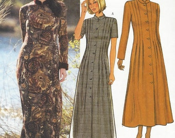 41bae78cd9f2 Womens Boho Ankle Length Dress Button Front Mandarin Collar Butterick  Sewing Pattern 3962 Size 14 16 18 Bust 36 38 40 FF Fall Dress Patterns