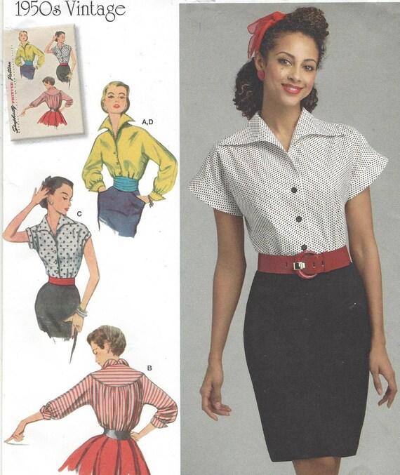 1950er Jahre Schnitt Frauen Bluse vorne und Kragen in einem | Etsy