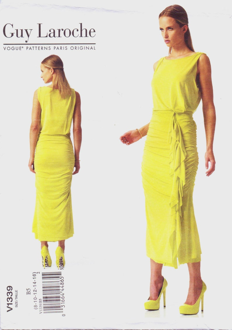 OOP Vogue Sewing Pattern V1339 Guy Laroche Womens Ruched Summer Dress Size 8 10 12 14 16 Bust 31 12 to 38 FF Vogue Paris Original