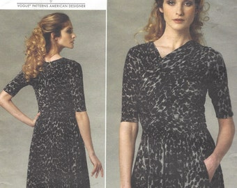 Tracy Reese Womens Ruched Dress OOP Vogue Sewing Pattern V1252 Size 8 10 12 14 Bust 31 1/2 to 36 FF Vogue American Designer