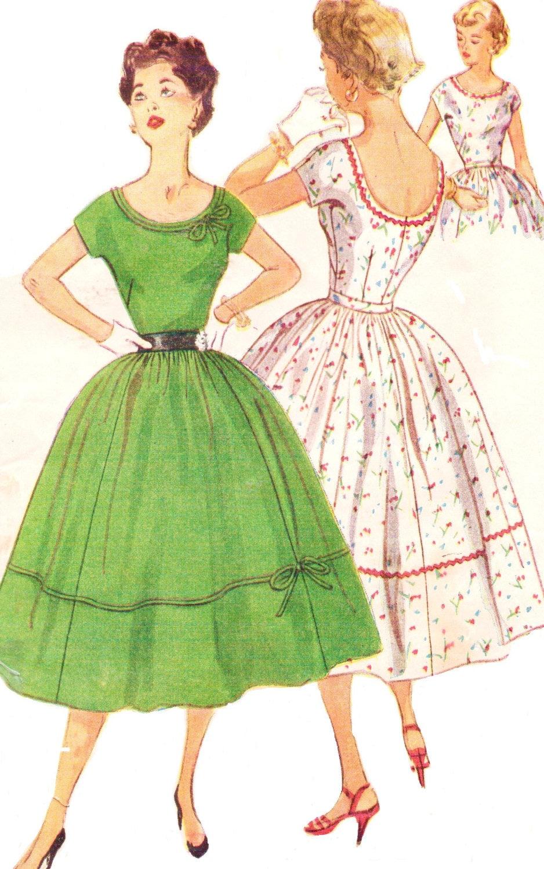1950s Rockabilly Summer Dress Simplicity Sewing Pattern 4637 | Etsy