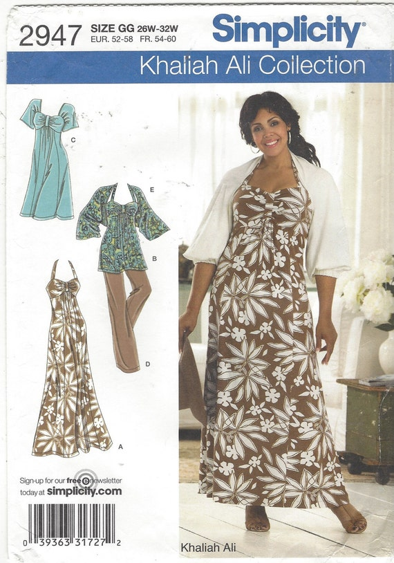 Khaliah Ali Plus Size Womens Knit Dress or Tunic, Pants & Shrug OOP  Simplicity Sewing Pattern 2947 Size 26 28 30 32 Bust 48 50 52 54 FF