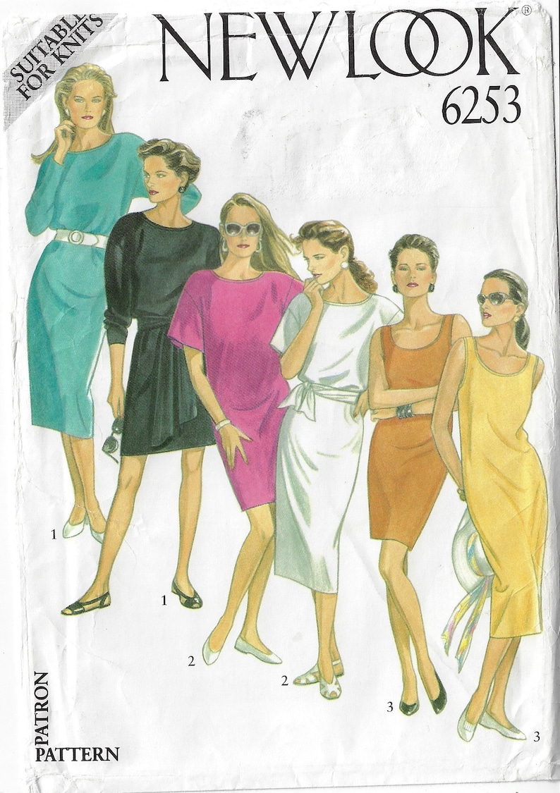 Sleeve /& Length Variations Size 8 10 12 14 16 18 FF 90s New Look Sewing Pattern 6253 Womens T-Shirt Dresses with Neckline