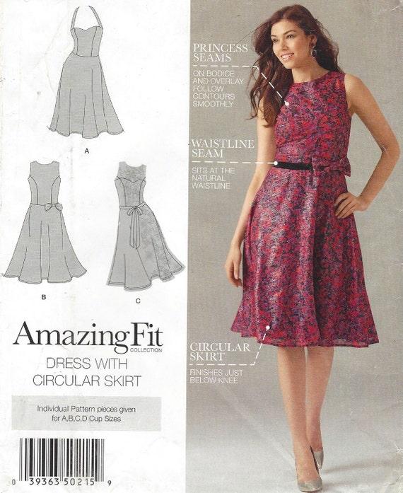 Kleid mit Tellerrock Ausschnitt Variationen Einfachheit Nähen | Etsy