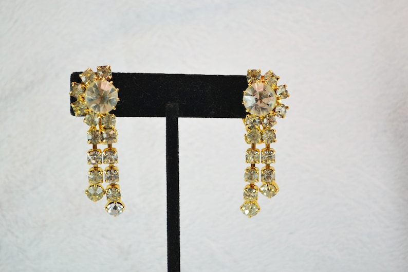 Prom or Special Occasion Bold Sparkling Rhinestone Clip On Earrings with Dangles Gold Tone Metal Great for Wedding