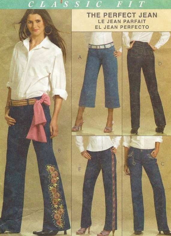 6c70a794db2 Womens Perfect Jeans McCalls Sewing Pattern M5142 Size 10 12