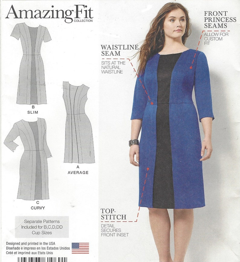 f1b44fe26ee2da Plus Size Amazing Fit Womens Dress Princess Seams Simplicity | Etsy