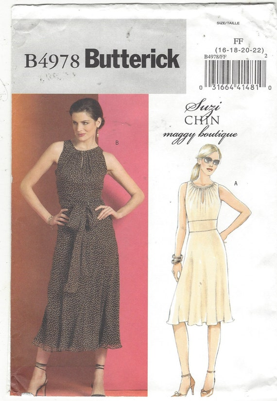 Maggy Boutique Womens Dress and Sash Bias Skirt Cut In Armholes OOP  Butterick Sewing Pattern B4978 Size 16 18 20 22 Bust 38 40 42 44 UnCut e76ae3daf