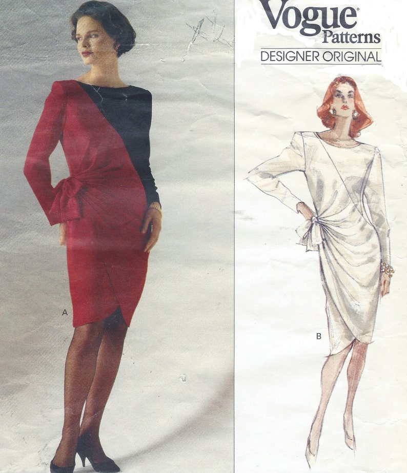 b4106f2d483 80s Bellville Sassoon Womens Color Block Dress with Tulip