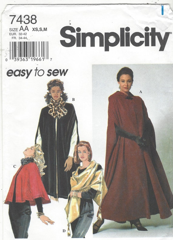 90s Simplicity Sewing Pattern 7438 Womens Capes & Wrap Size 6   Etsy