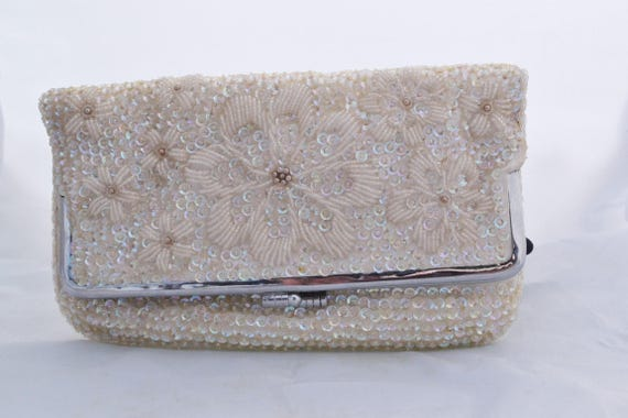 Mid Century Ivory Beaded Foldover Evening Clutch Hand Made In