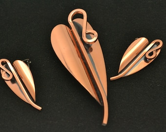 Vintage Matisse Renoir Copper Heart Brooch and Clip On Earrings 1950's to 1960's Demi Parure Unique Gift for Her