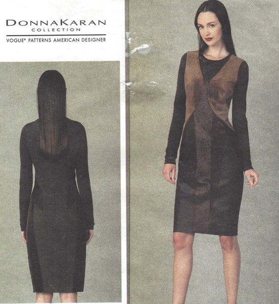 Donna Karan Womens Bias Cut Dress OOP Vogue Sewing Pattern V1409 Size 6 8  10 12 14 Bust 30 1 2 to 36 UnCut Stretch Knits Only 2cc66fa83