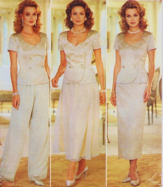 4443 UNCUT Vintage Butterick Sewing Pattern Evening Top Skirt Pants Donna Ricco