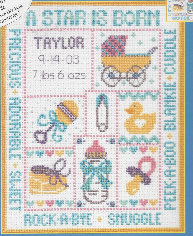 A Star Is Born Candamar Counted Cross Stitch Kit 51422 Baby Record Baby Sampler NIP Kit Large Print Chart Finished Size 8 x 10
