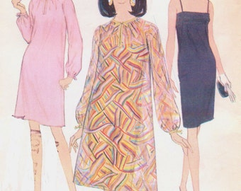 1960s McCalls Sewing Pattern 8548 Womens Sheath Dress or Dress and Tent Overdress Size 14 Bust 34 FF DIY Mod Cocktail Dress