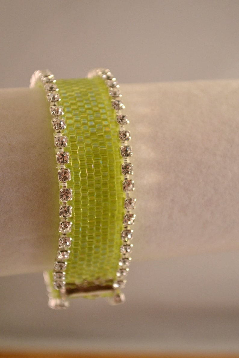 Handmade White Iridescent Peyote Stitch Beadwoven Bracelet with Sparkling Cup Chain Womens Birthday Gifts OOAK Gift for Her