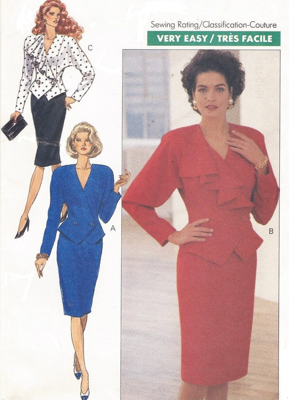 80s Womens Dolman Sleeve Top And Pencil Skirt Butterick Sewing Etsy