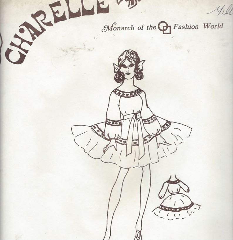 60/'s Womens Square Dance Dress Peasant Neckline Ruffled Skirt Charelle Sewing Pattern 422 Size 18 Bust 41 12 FF Vintage Sewing Patterns