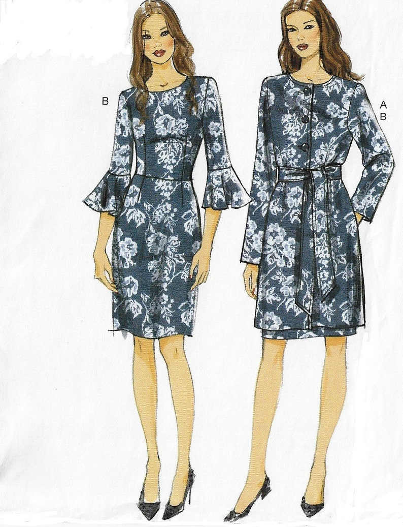 Vogue Sewing Pattern V9123 Womens Three Quarter Lined Jacket, Belt and Semi Fitted Dress Size 14 16 18 20 22 Bust 36 38 40 42 44 FF