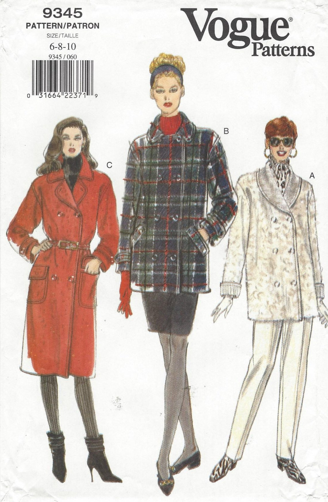 1990s Misses' / Misses' Petite coat pattern Vogue 9345