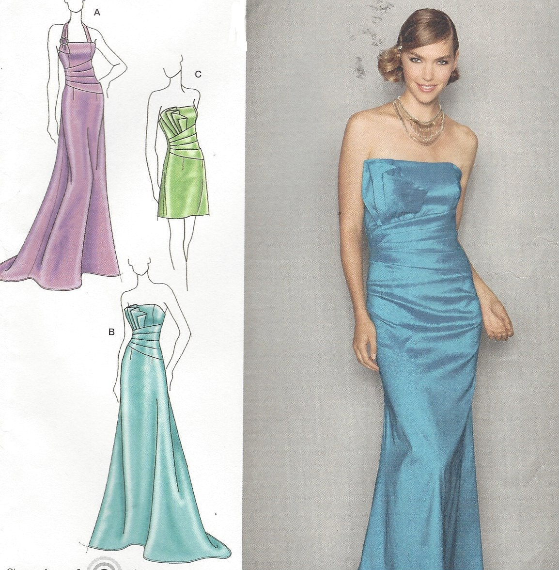 Jessica McClintock Womens Strapless Evening Gown OOP Simplicity ...