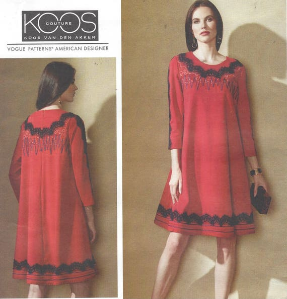 Koos Van Den Akker Womens Knit Swing Dress With Decorative Etsy