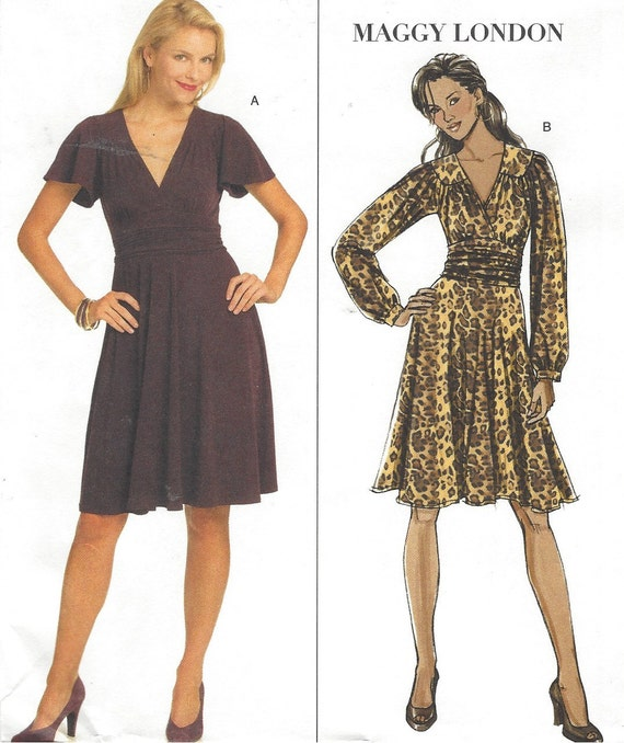 Maggy London Womens Stretch Knit Dress Flutter or Long Sleeves OOP  Butterick Sewing Pattern B5243 Size 16 18 20 22 Bust 38 40 42 44 UnCut ebe49d41a