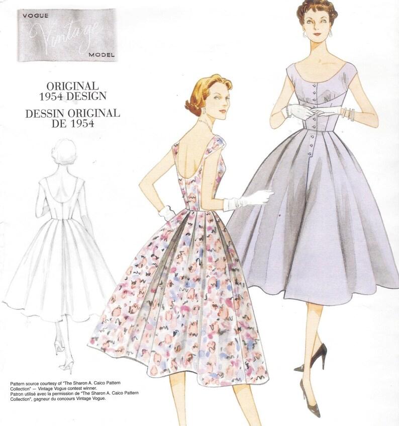 3694947a8bd 1950s Retro Womens Dress Garden Party Dress Vogue Sewing