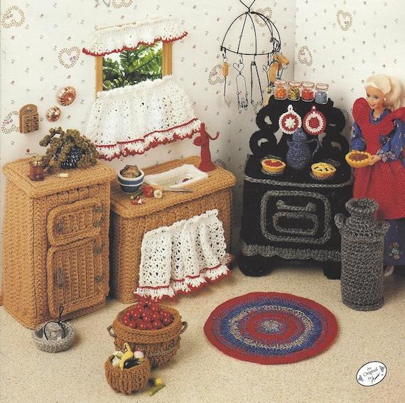 90er Jahre Land Küche häkeln Puppenmöbel für Barbie und Puppe Häuser Annie Mode Puppe Haus Dekor häkeln Sammler Gilde 534B