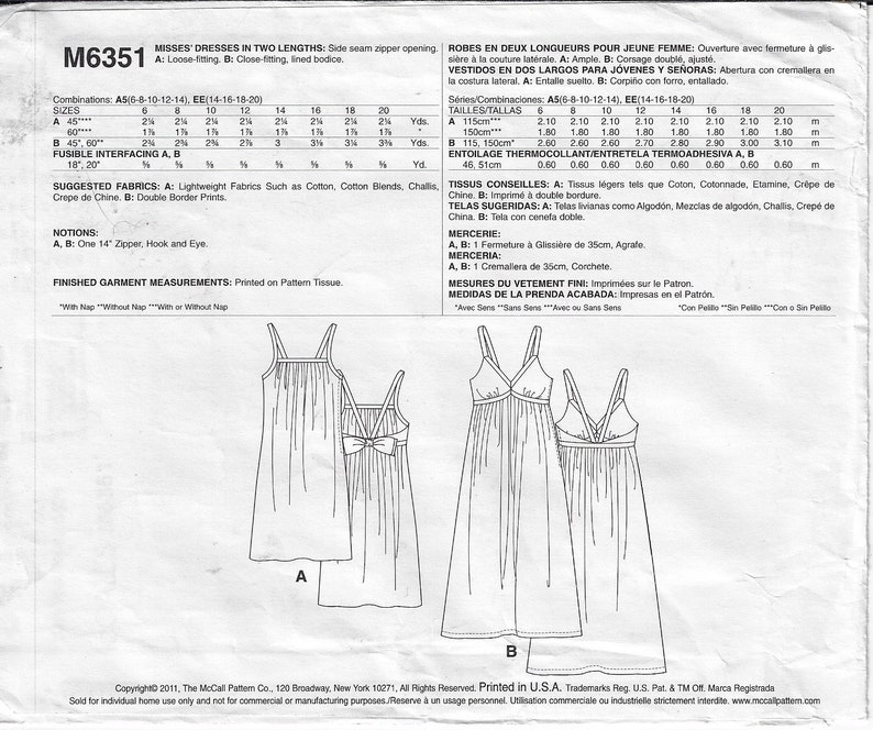 OOP McCalls Sewing Pattern M6351 Womens Summer Sundress in 2 Lengths and Styles Mini or Midi Size 6 8 10 12 14 Bust 30 12 to 36 FF