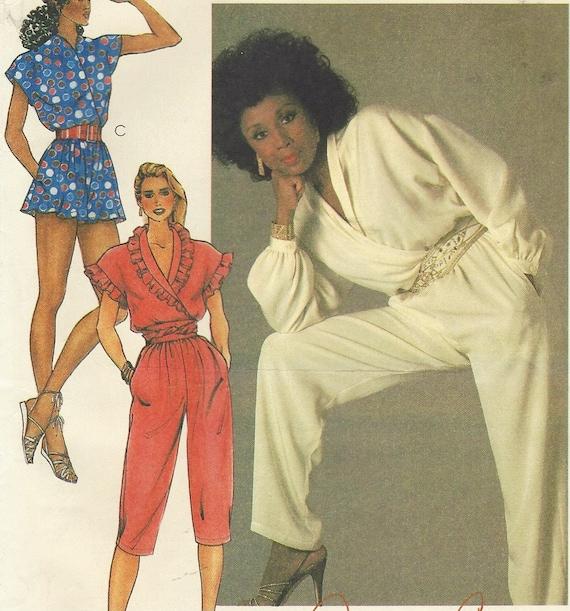 80s Diahann Carroll Womens Jumpsuit Romper Capri Jumpsuit McCalls ...