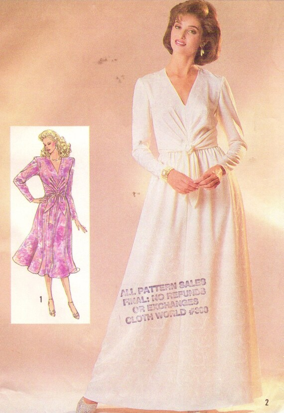 80s Womens Semi-Fitted Dress V Neckline Day or Evening Length  2dc587fa1