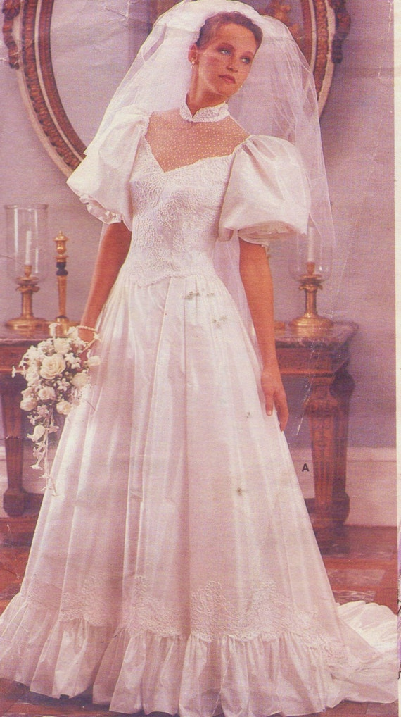 80s Womens Wedding Gown with Chapel Train Vogue Bridal | Etsy