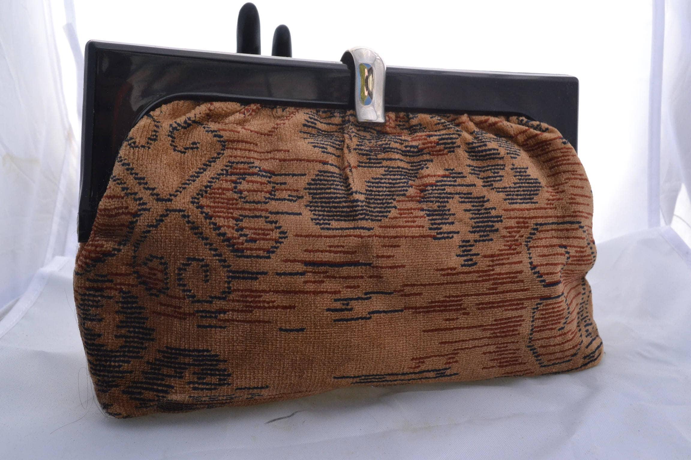 Vintage 70s SMco Tapestry Clutch Faux Tortoise Shell Trim Boho  1457e2e87f533