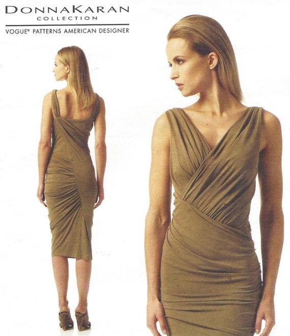 Donna Karan Womens Sexy geraffte V Ausschnitt Kleid OOP Vogue | Etsy