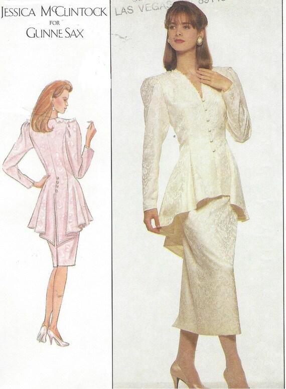 80s Jessica McClintock Gunne Sax Womens Peplum Top & Skirt | Etsy