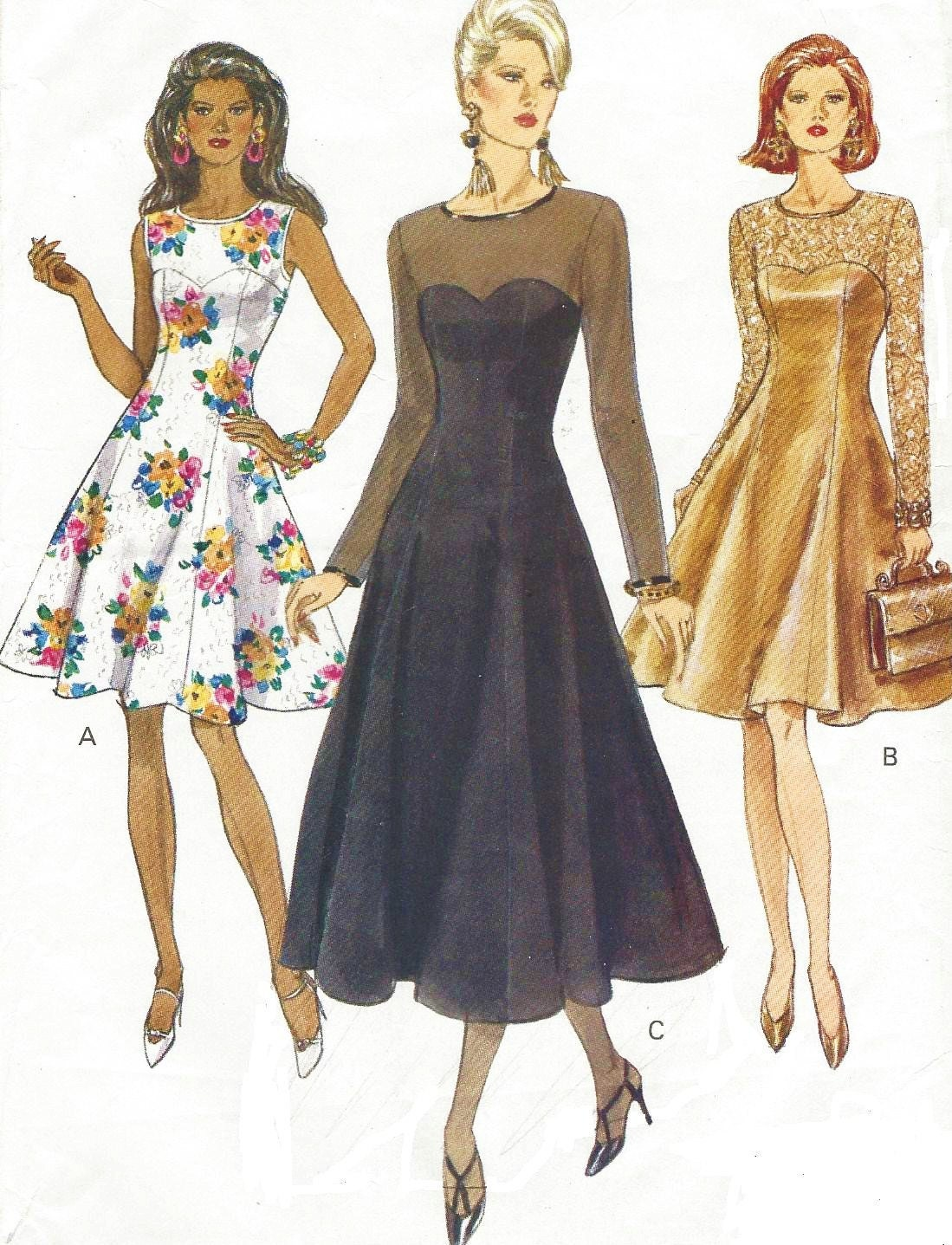 90s Vogue Sewing Pattern 8544 Womens Cocktail Dress Size