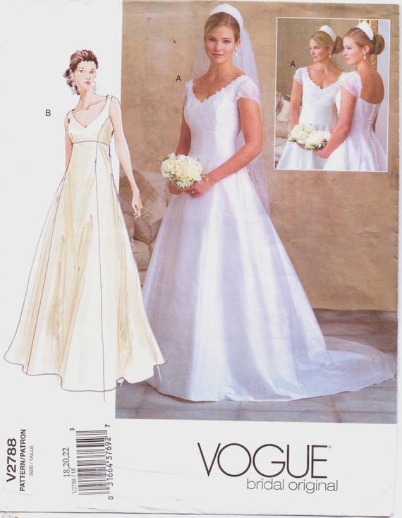 Plus Size Womens Empire Waist Wedding Gown Vogue Sewing  c52d65f308