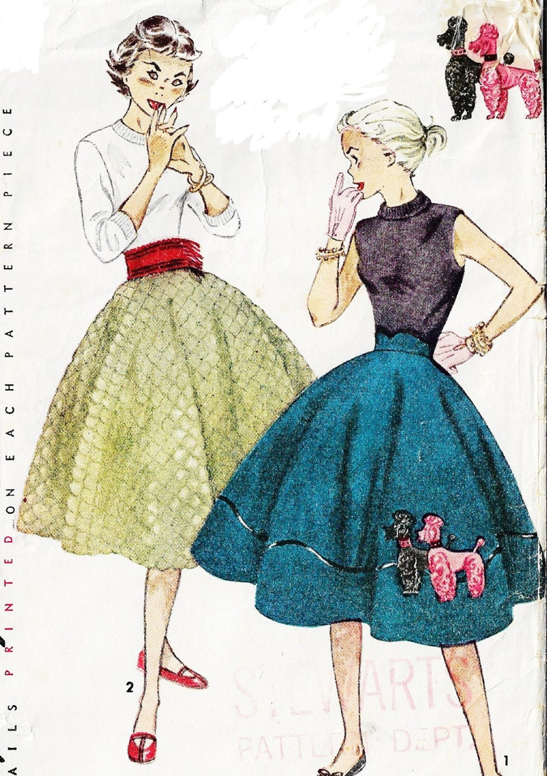1950s Teen Age Circle Skirt with Poodle Applique or Quilted /& Cummerbund Simplicity Sewing Pattern 3953 Waist 25 Hip 33