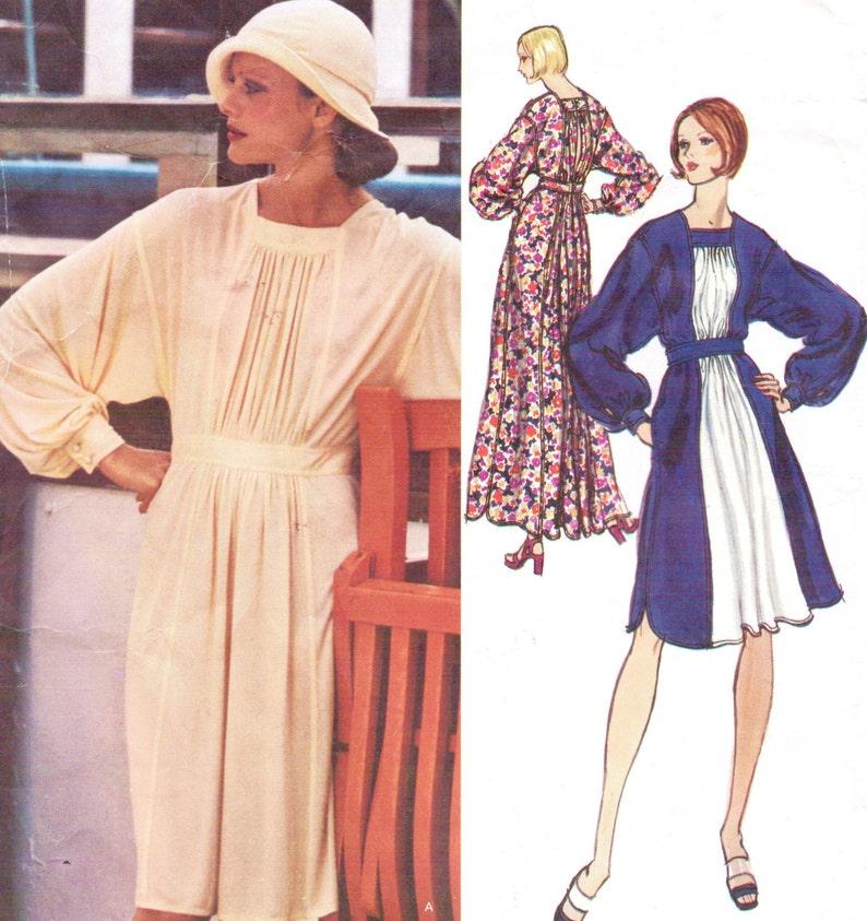1970s Jean Muir Womens Boho Day or Evening Dress Dolman image 0
