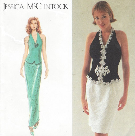 90s Jessica McClintock Halter Top and Skirt Simplicity Sewing | Etsy