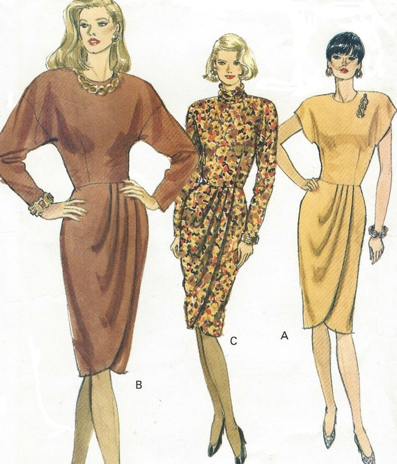 90s Womens Dress Tulip Skirt Long Sleeves Vogue Sewing Pattern Etsy