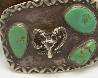 Vintage Sheep Head and Kingman Turquoise Belt Buckle with Size 40 Leather Belt Custom Made Unique Gift for Him
